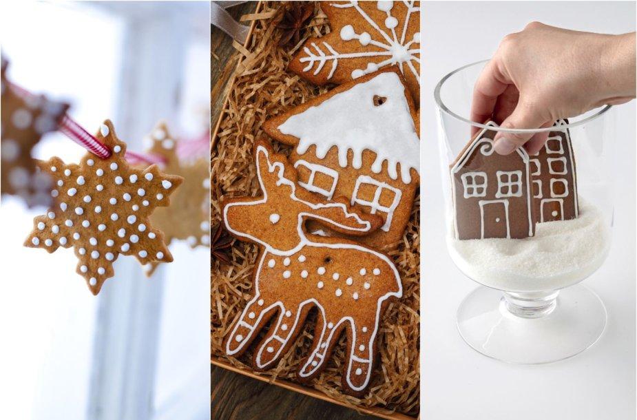 Dekoruoti kalėdiniai meduoliai