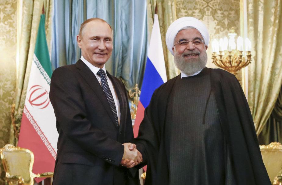 Vladimiras Putinas ir Hassanas Rouhani Maskvoje