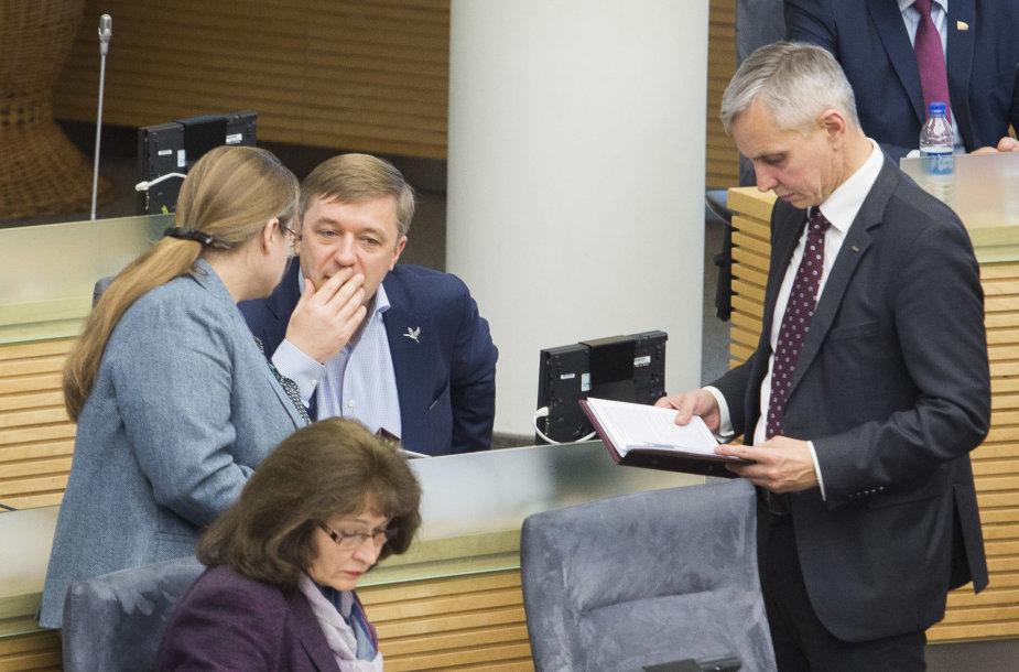 Agnė Širinskienė, Ramūnas Karbauskis ir Povilas Urbšys