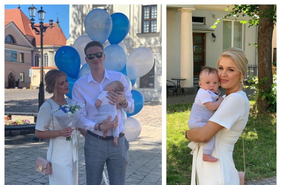 Marius Grigonis su žmona Salomėja ir sūnumi Emiliu Petru