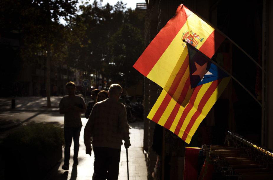 Ispanijos ir Katalonijos vėliavos