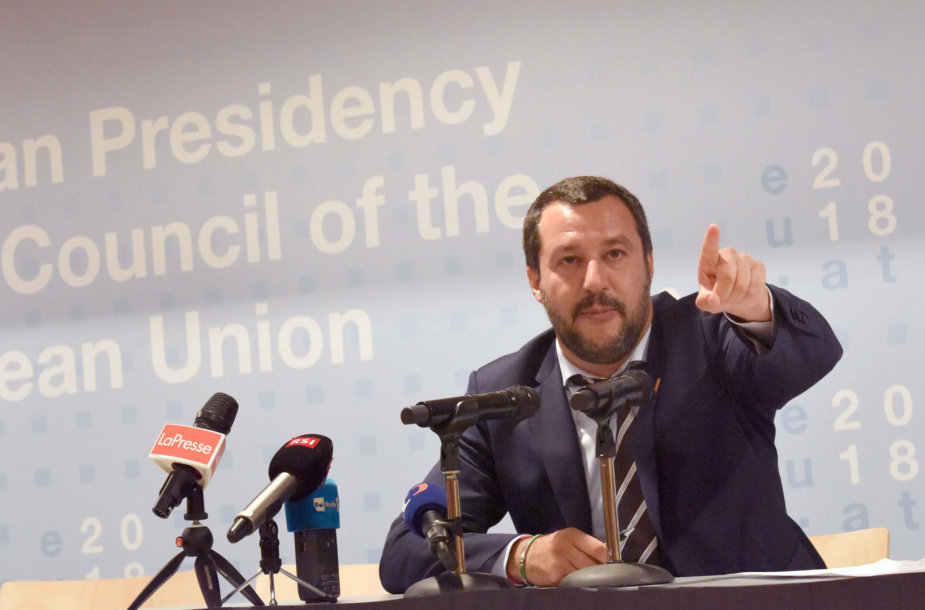 Italijos vidaus reikalų ministras Matteo Salvini