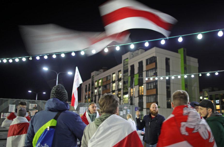 Protestuotojai Minsko rajone Novaja Borovaja