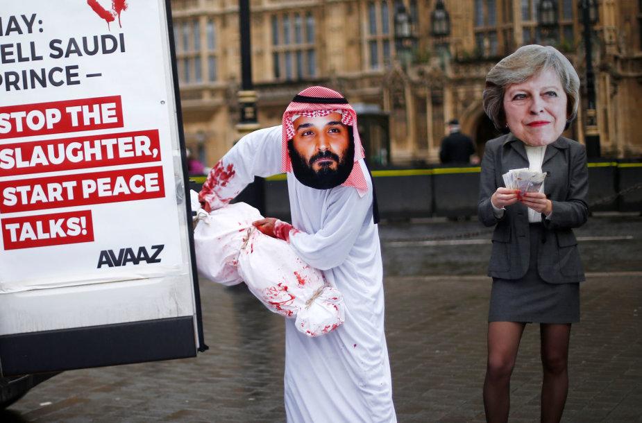 Protestai per Saudo Arabijos sosto įpėdinio vizitą Britanijoje