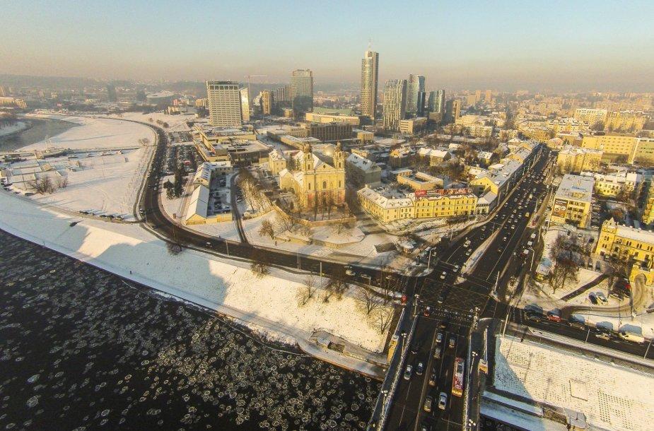 Žiemiškas Vilnius iš aukštai