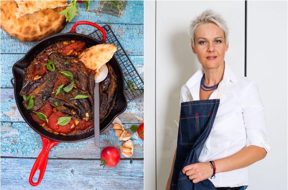 Nida Degutienė ir jos ruoštas kaukazietiškas baklažanų ir pomidorų troškinys