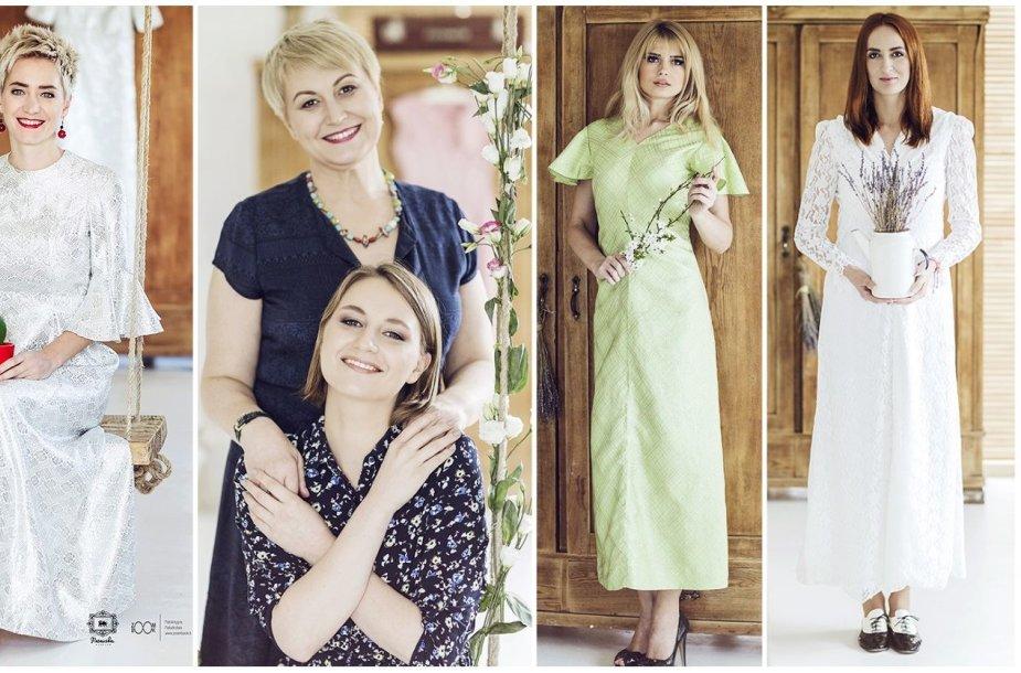 """Projektas """"Mamos suknelė"""": Rasa Tapinienė, Neringa Čereškevičienė su dukra Kotryna, Jolanta Leonavičiūtė ir Laura Vagonė"""