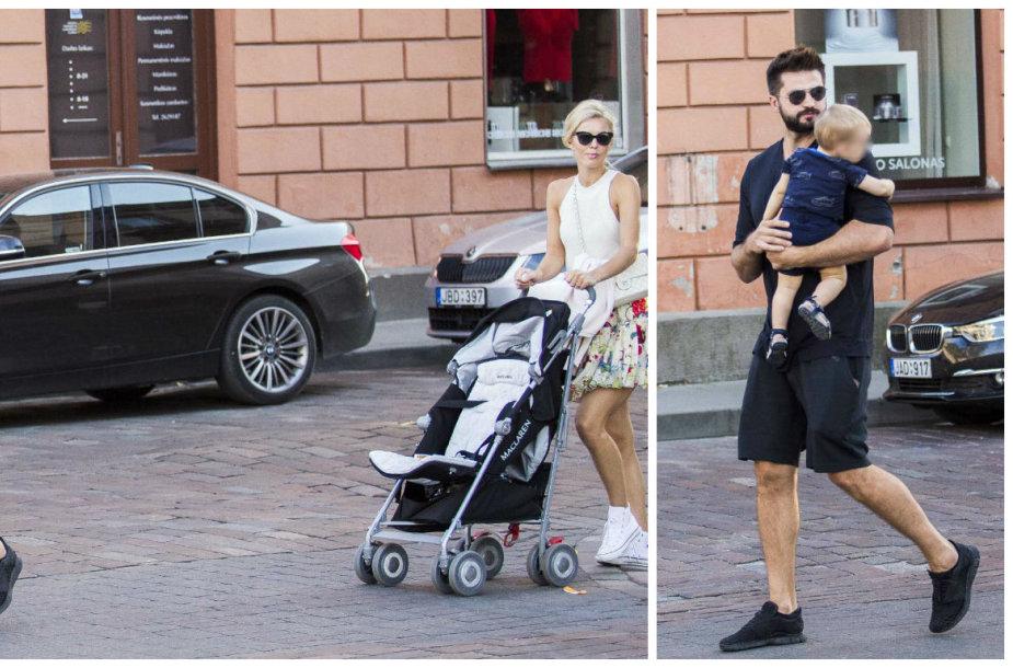 Linas Kleiza su žmona Agneta ir sūnumi