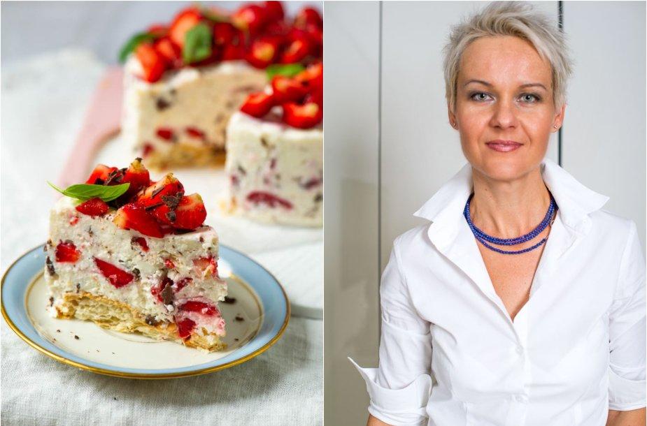 Nida Degutienė ir jos gamintas nekeptas tortas
