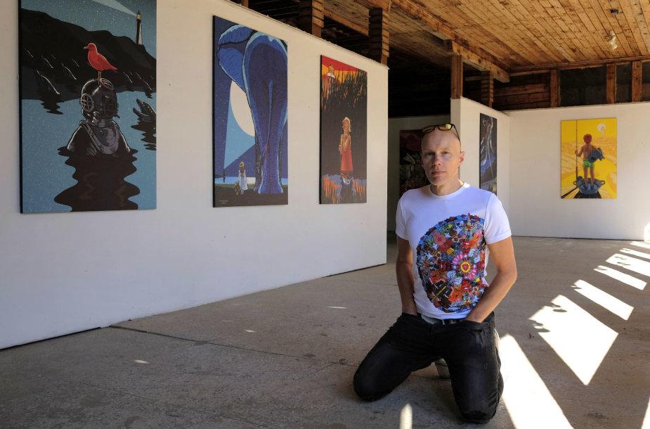 Dailininko Algio Kriščiūno paroda Palangoje