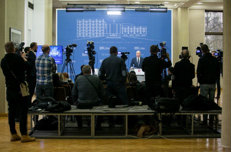 Sauliaus Skvernelio spaudos konferencija Vyriausybėje