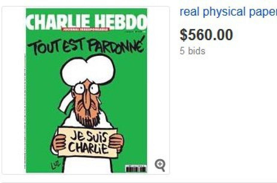 """Naujasis """"Charlie Hebdo"""" numeris parduodamas """"eBay""""."""