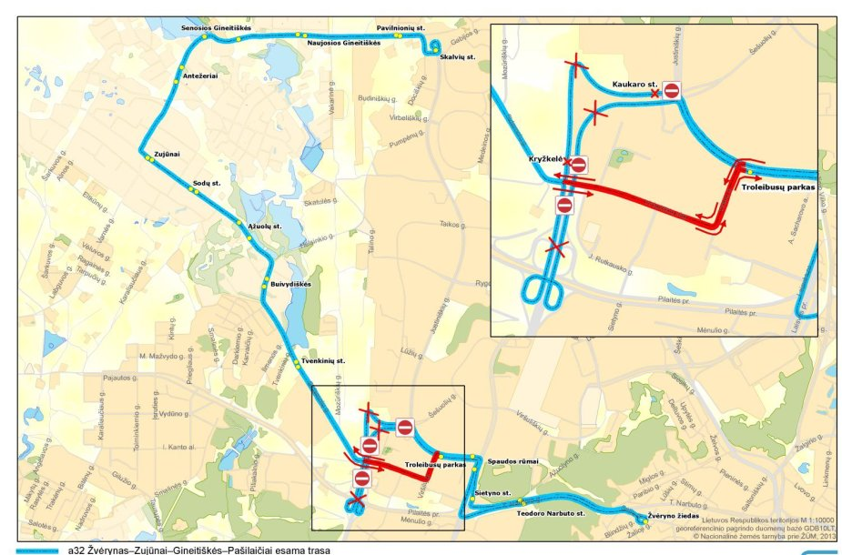 laikinai keičiama 32 maršruto autobusų trasa