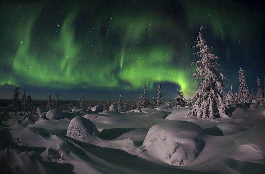 Šiaurės pašvaistė virš Sibiro