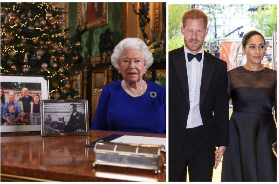Karalienė Elizabeth II, princas Harry ir Sasekso hercogienė Meghan Markle