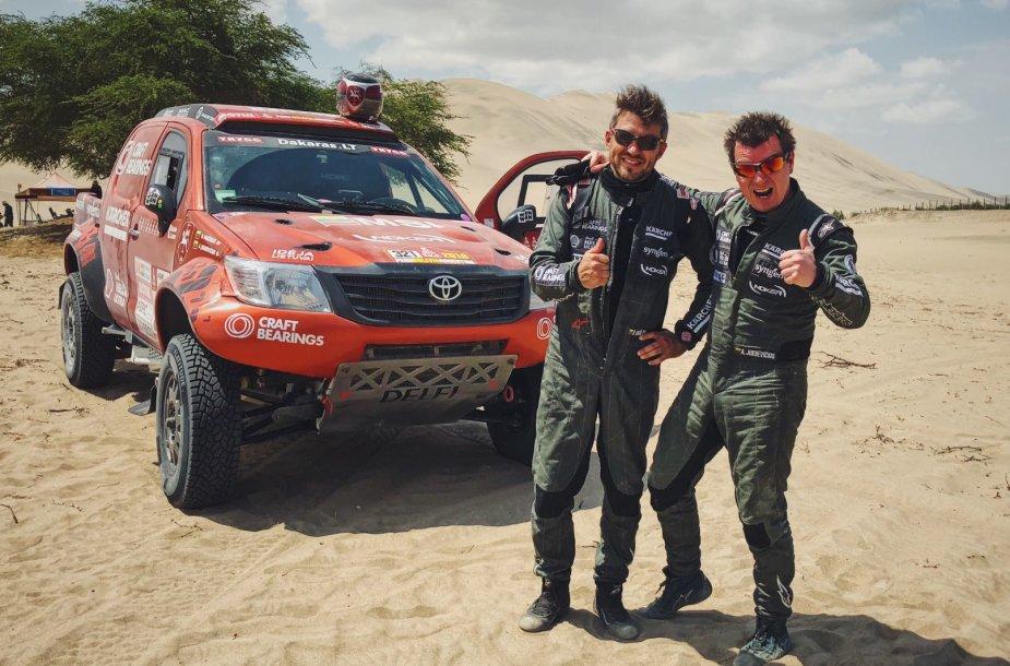 Darius Vaičiulis ir Antanas Juknevičius po trečiosios dienos finišo Dakaro ralyje