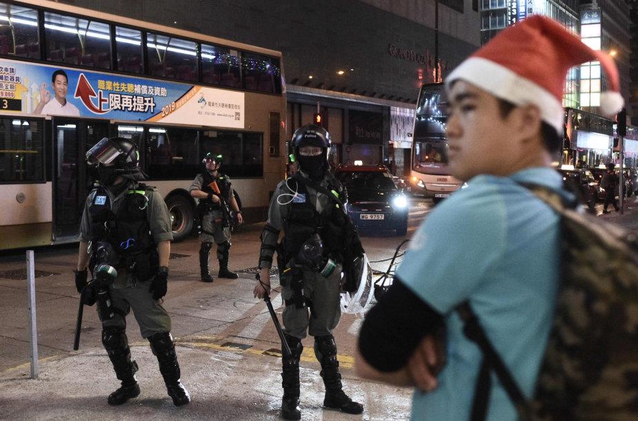 Protestai Honkonge per Kalėdas