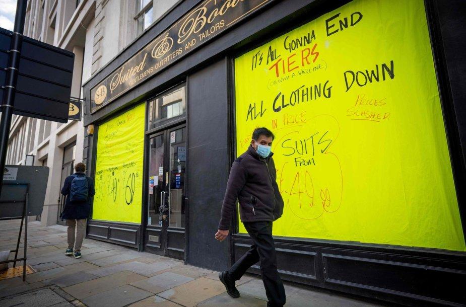 Uždaryta parduotuvė Londone