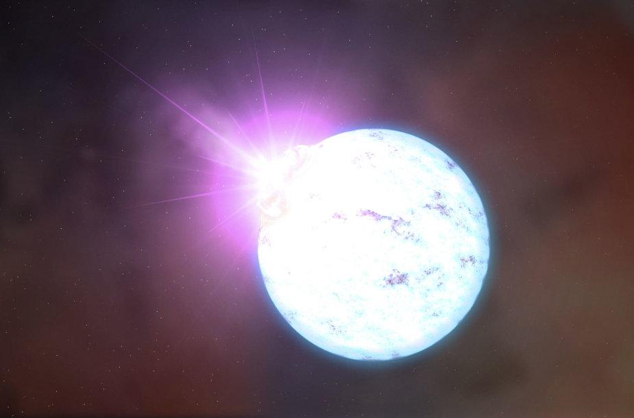 Ultra-magnetinės neutroninės žvaigždės, vadinamos magnetaru, žybsnis