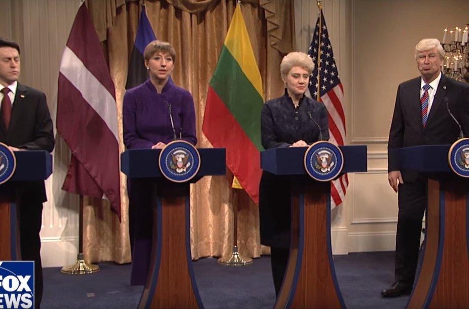 """""""Saturday Night Live"""" laidoje – D.Trumpo ir Baltijos šalių prezidentų susitikimo parodija"""