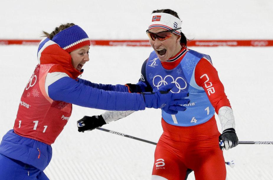 Norvegijos slidininkė Marit Bjoergen laimėjo tryliktąjį olimpinį medalį per karjerą.