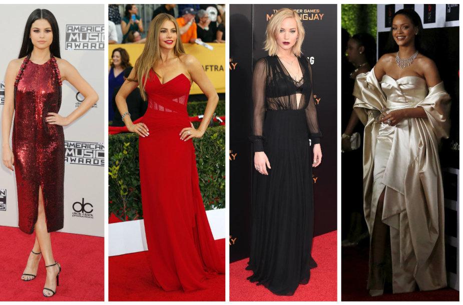 Beyonce, Selena Gomez, Sofia Vergara, Jennifer Lawrence ir Rihanna