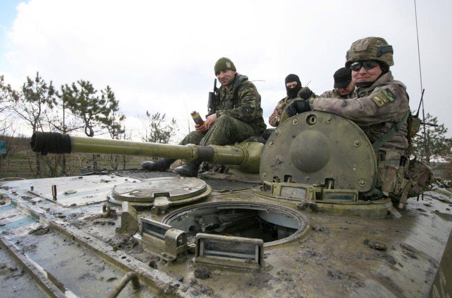 Ukrainos kariai priešakinėje fronto linijoje.