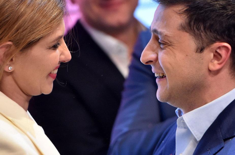 V.Zelenskis su žmona Olena