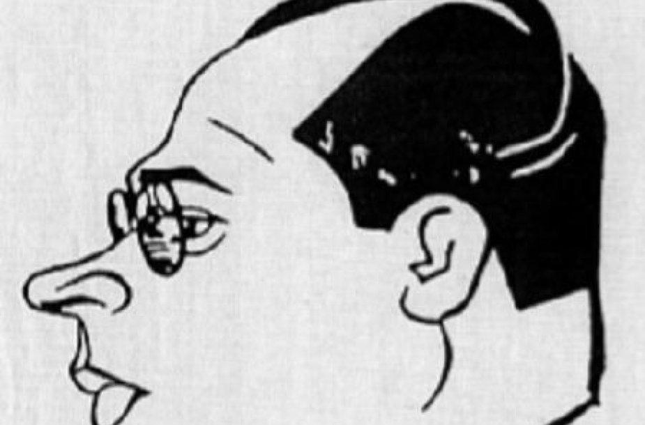 Tarpukario karikatūristo Juozo Olinardo Petnyčios draugiška S.Petuchausko karikatūra.