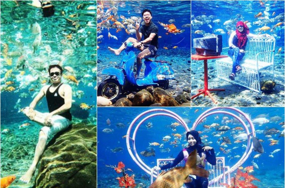 """""""Umbul Ponggok"""" parke galima pasidaryti nuotrauką po vandeniu"""