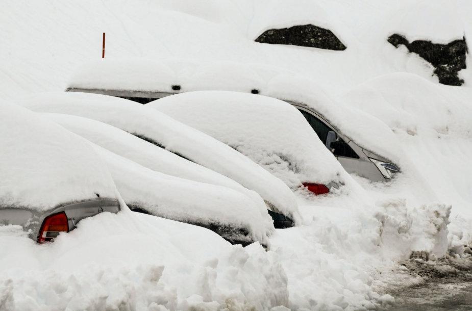 Gausus sniegas Alpėse