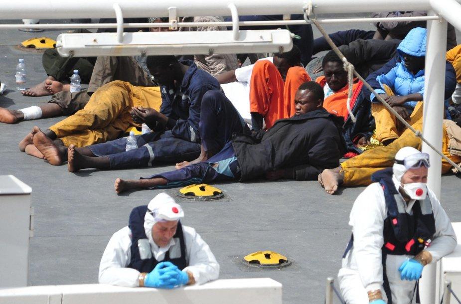 Išgelbėti migrantai Italijoje