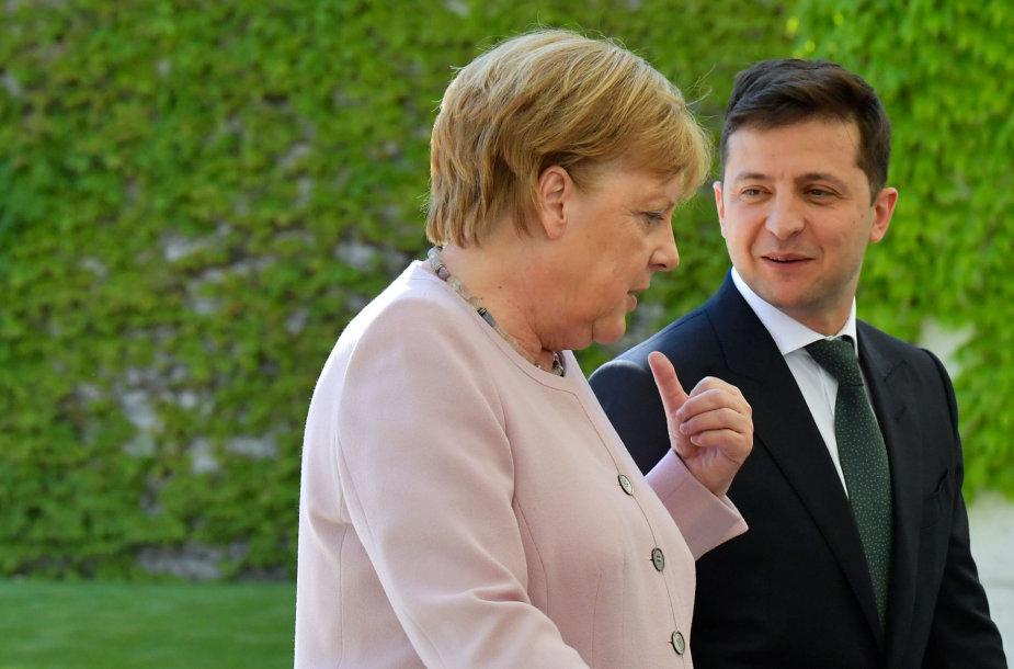 Angela Merkel ir Volodymyras Zelenskis