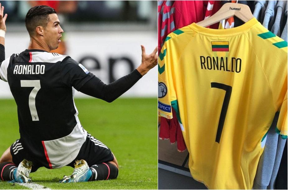 Cristiano Ronaldo ir Lietuvos rinktinės marškinėliai