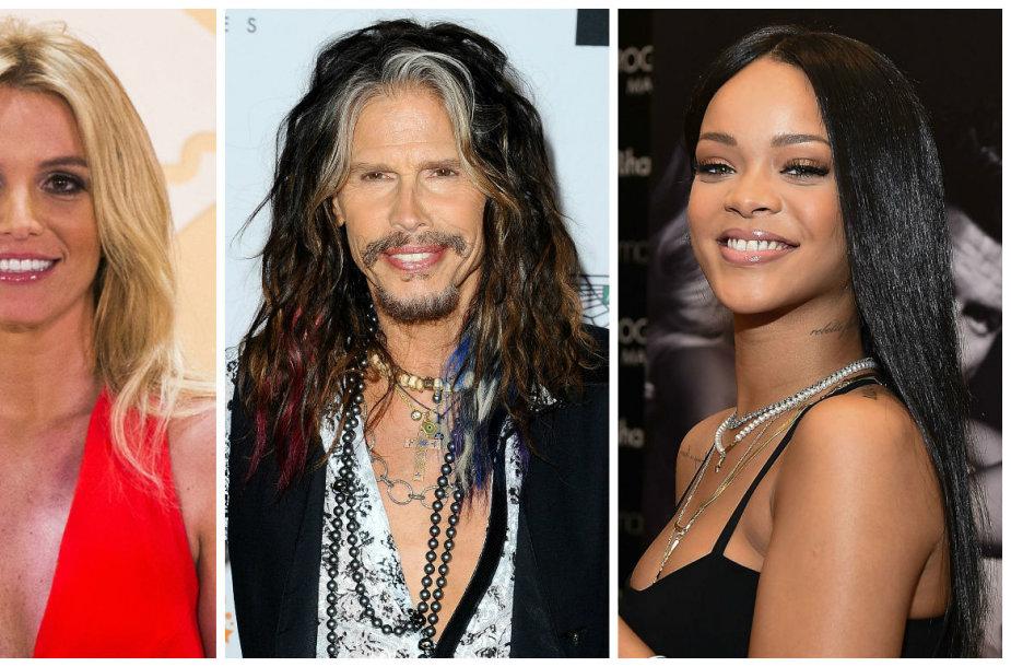 Beyonce, Britney Spears, Stevenas Tyleris ir Rihanna