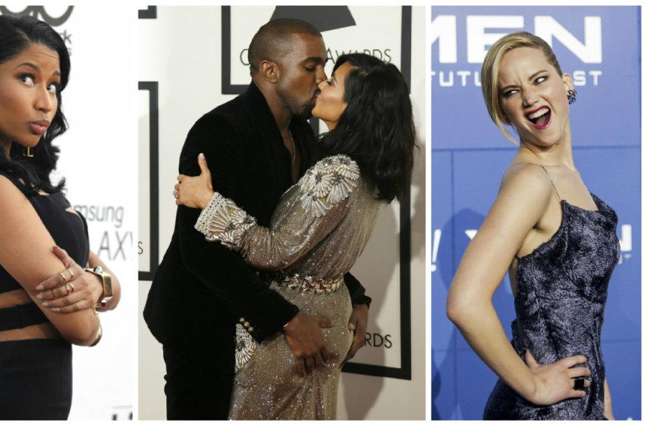 Reese Witherspoon, Nicki Minaj, Kanye Westas su Kim Kardashian ir Jennifer Lawrence
