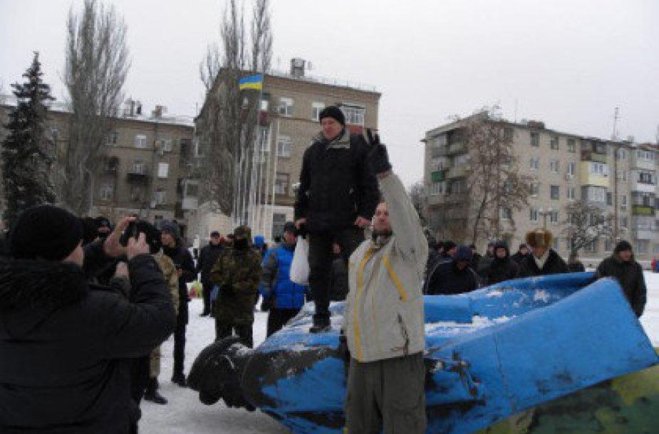 Dnepropetrovsko srityje nuverstas Lenino paminklas
