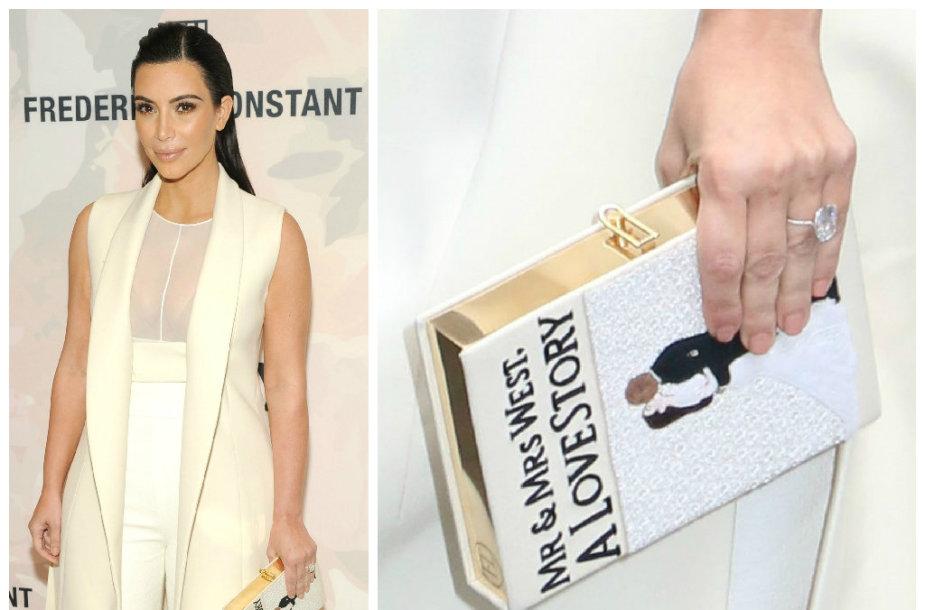 Originalus Kim Kardashian aksesuaras – delninukė su jos ir Kanye Westo vestuvių atvaizdu