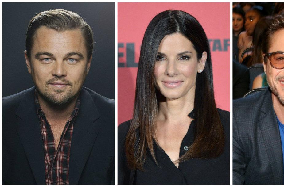 Leonardo DiCaprio, Sandra Bullock, Robertas Downey jaunesnysis ir Angelina Jolie