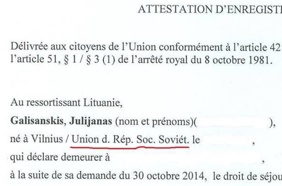 J.Gališanskiui išduotas dokumentas