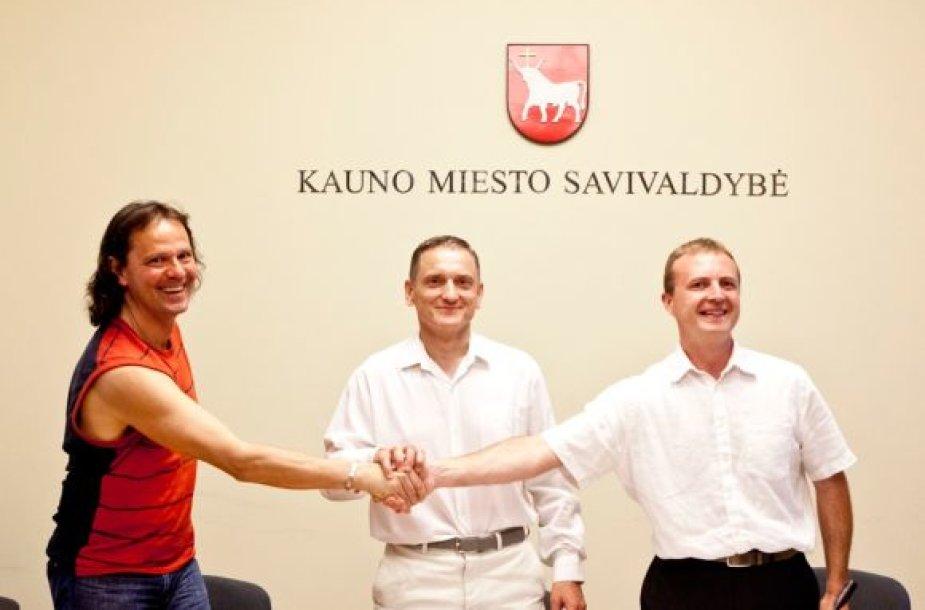 Kauno kino studijos krikštatėviai: Vytautas Balsys, Stanislovas Buškevičius ir Edvinas Bindokas