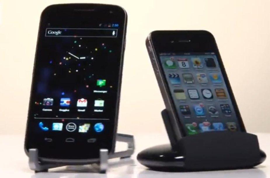 """Išmanieji telefonai """"Samsung Galaxy Nexus"""" (k.) ir """"Apple iPhone 4S""""."""