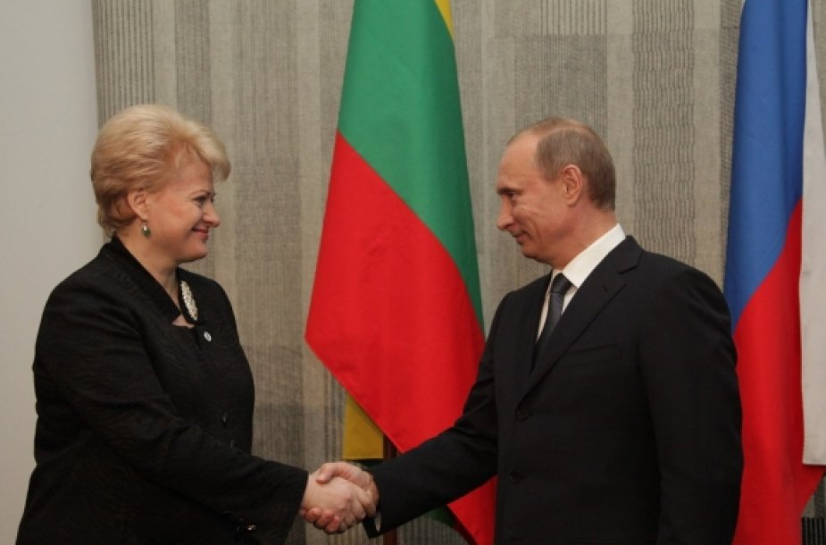 Lithuanian President Grybauskaitė  and Russian Prime Minister Putin.