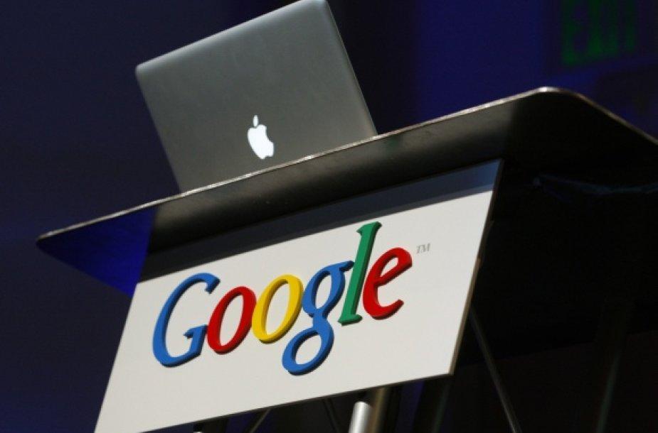 """Apple"" kompiuteris ir ""Google"" logotipas"