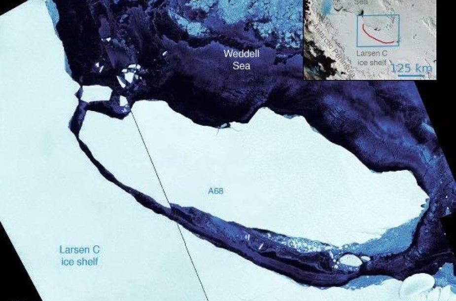 Milžiniškas ledkalnis atskilo nuo Antarktidos