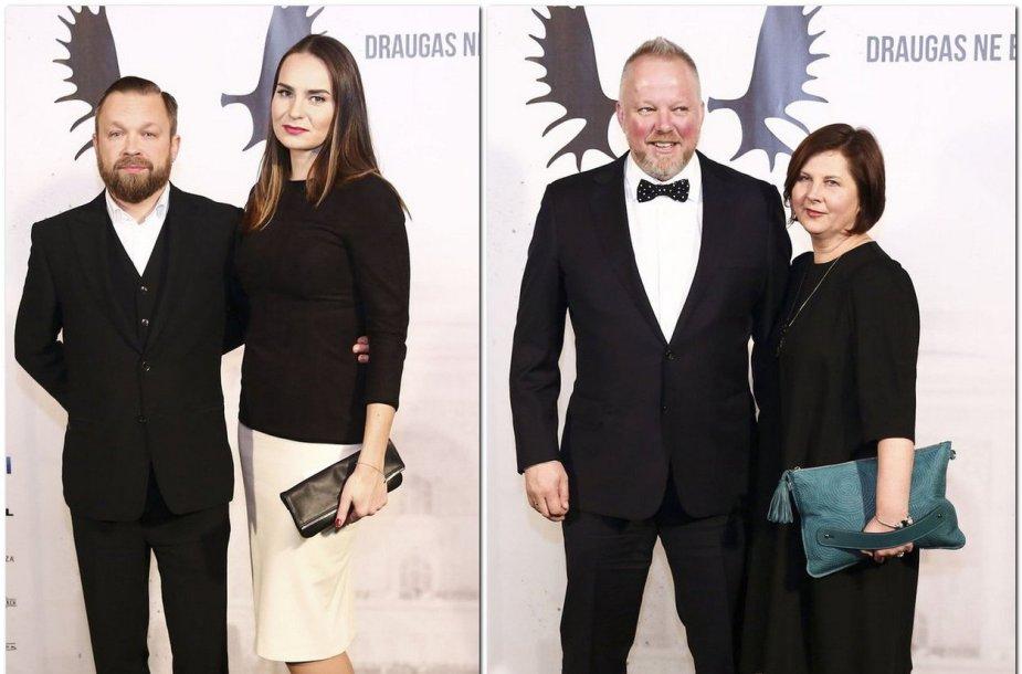 Martynas Starkus su žmona Kotryna ir Vytaras Radzevičius su žmona Laisve