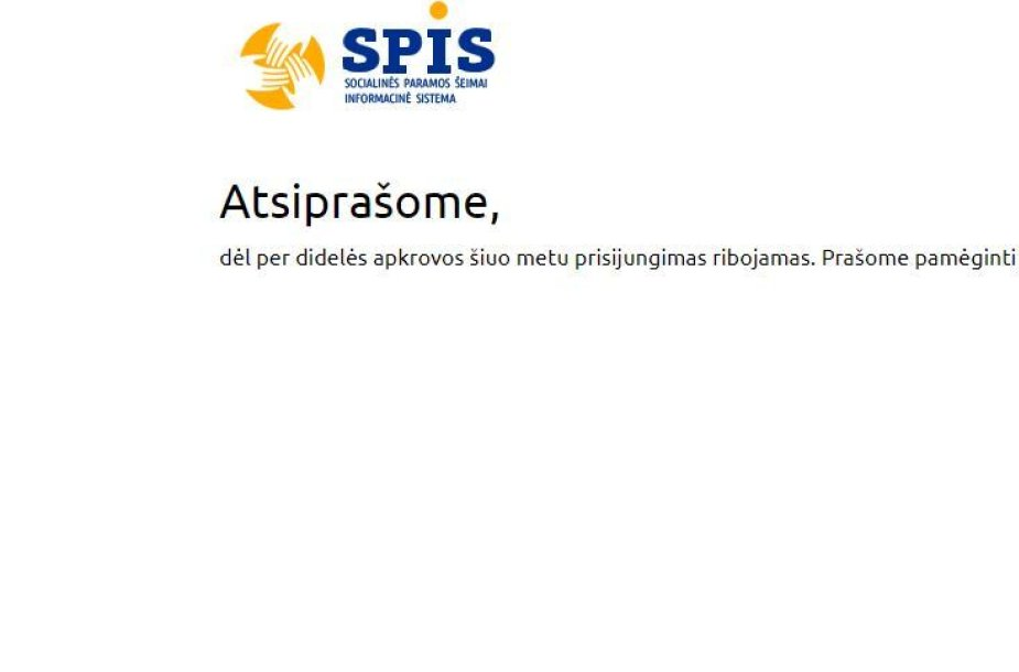 SPIS sistema neveikia