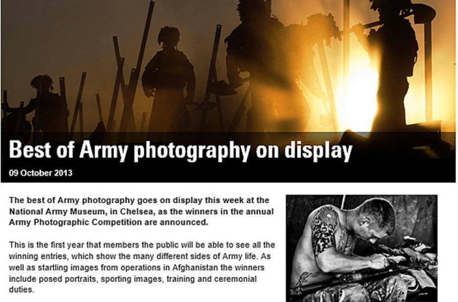 Pranešimas apie geriausių Didžiosios Britanijos karinių fotografijų parodą