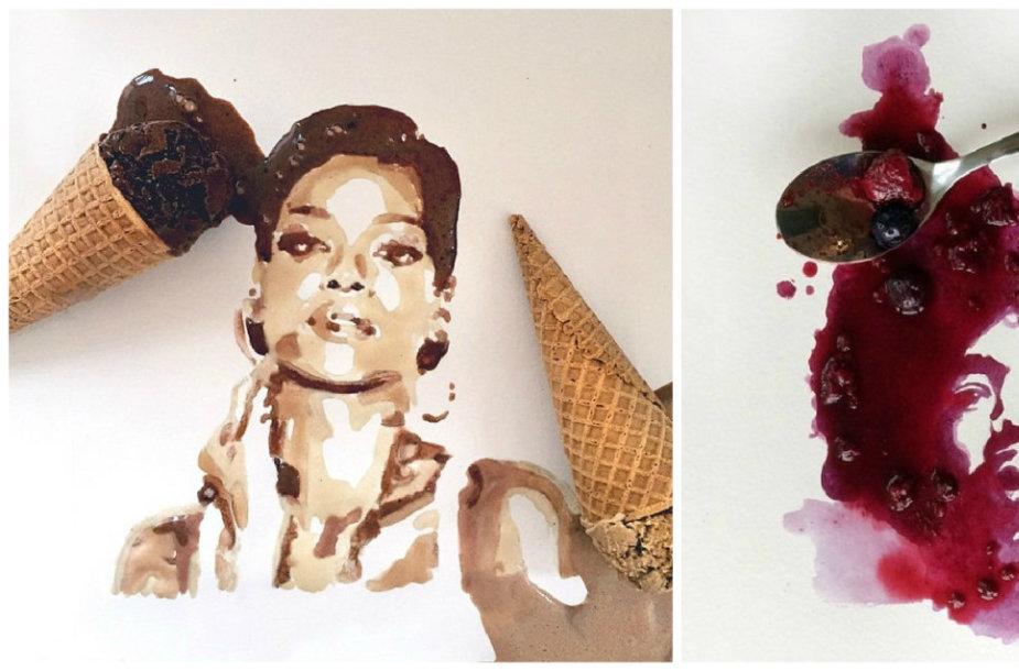 Jessie Bearden portretai iš maisto produktų