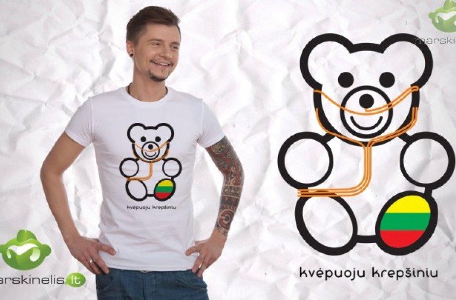 """Roberto Kalinkino sukurti marškinėliai """"Kvėpuoju krepšiniu"""""""